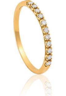 Meia Aliança Ouro 18K Com Diamantes-Coleção True 2