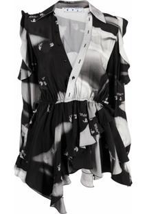 Off-White Blusa Com Estampa Gráfica - Cinza