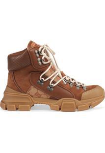 Gucci Ankle Boot 'Original Gg' De Camurça E Couro - Marrom