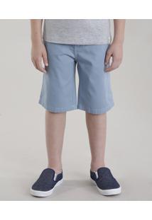 Bermuda Color Infantil Reta Em Algodão + Sustentável Azul Claro