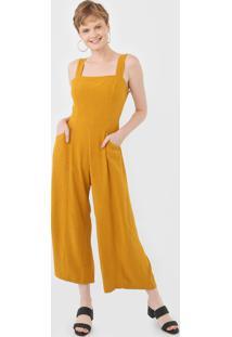 Macacão Cantão Pantalona Recorte Amarelo