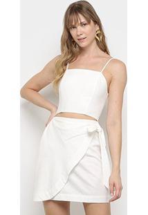 Vestido Curto Farm Recorte Transpasse Amarração - Feminino-Off White