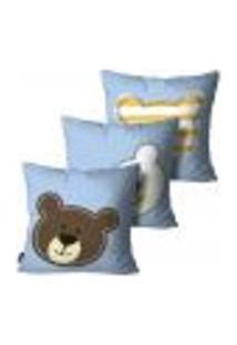 Kit Com 3 Capas Para Almofada Infantil Urso Azul 35X35Cm