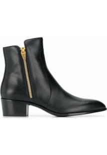 Balmain Ankle Boot Bico Fino Com Zíper - Preto