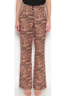 Calça Pantalona Com Linho Abstrata - Marrom Claro & Pretdudalina