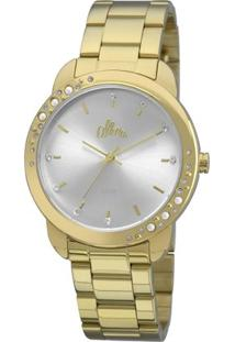Relógio Allora Pérolas E Cristais - Feminino-Dourado+Branco