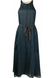 Alysi Vestido Color Block De Seda - Azul