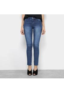 Calça Jeans Skinny Chocomenta Estonada Cintura Média Feminina - Feminino-Azul