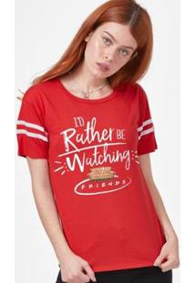 Camiseta Athletic Friends I'D Rather Be Watching Feminina - Feminino-Vermelho