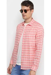 Camisa Xadrez Forum Smart Masculina - Masculino-Vermelho Claro