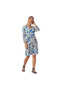 Vestido Maria Valentina Curto Decote V Com Faixa Azul