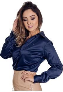 Camisa Pimenta Rosada Giulia - Feminino-Azul Escuro