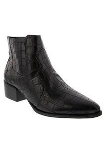 Bota Ankle Boot Bebecê Salto Bloco Textura Croco Preto