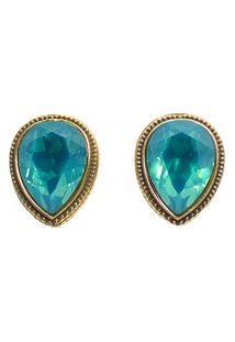 Brinco Armazem Rr Bijoux Cristal Swarovski Gota Azul Dourado