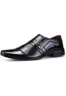 Sapato Social Dhl Calçados Neway Ws Shoes Estampado Preto