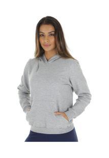 Blusão De Moletom Com Capuz Oxer Básico - Feminino - Cinza