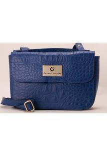6cfcd1fe8 ... Bolsa Transversal Em Couro Croco- Azul- 21X30X8Cmcarmen Steffens
