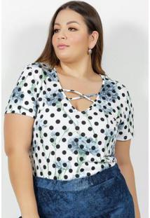 Blusa Floral E Poá Com Decote Em Tiras Plus Size