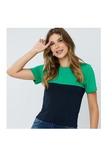 Blusa Feminina Bicolor Elen Verde E Marinho