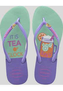 "Chinelo Feminino Havaianas Slim Cool ""It Is Tea Clock"" Verde"