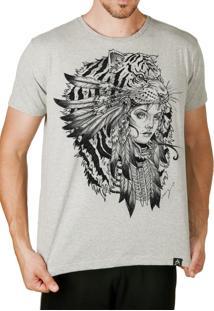 Camiseta Artseries Índia Tigre Cinza