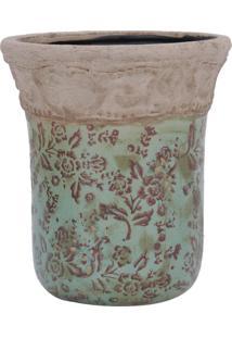 Vaso Azul Claro C/ Flores Marrons E Detalhes Em Alto Relevo