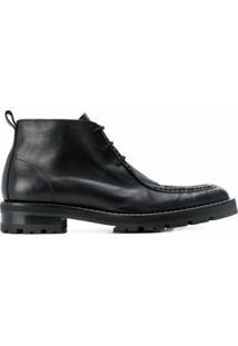 Ami Paris Ankle Boot Com Cadarço - Preto