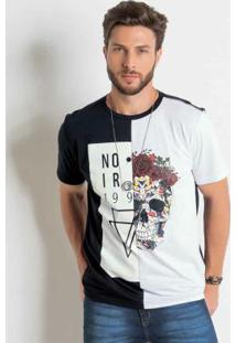 Camiseta Preta E Branca Bicolor Actual