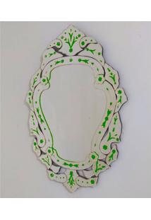 Espelho Veneziano Decorativo, Sala, Margarida Plus Verde 61X88