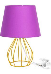 Abajur Cebola Dome Roxo Com Aramado Amarelo - Roxo - Dafiti