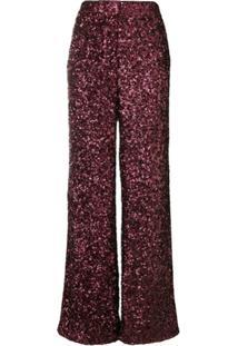Victoria Victoria Beckham Calça Com Paetês - Vermelho