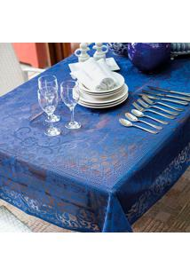 Toalha De Mesa Retangular Rosas Azul (155X250)