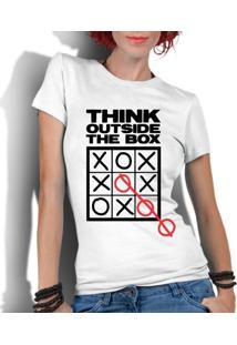 Camiseta Criativa Urbana Frases Pense Fora Da Caixa Branco