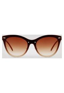 Óculos De Sol Redondo Feminino Oneself Dourado