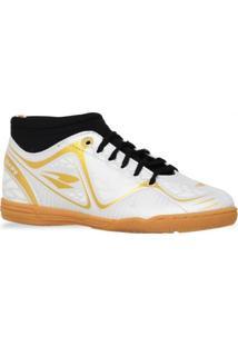 Tenis Dray Botinha Futsal Branco Dourado