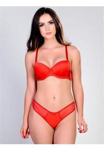 Conjunto Yasmin Lingerie Sutiã Calcinha Silk Satin Feminino - Feminino-Vermelho