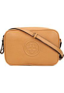 Bolsa Couro Capodarte Mini Bag Monograma Feminina - Feminino-Caramelo