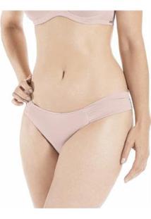 Calcinha Conforto Fio Dental Drapeada Com Proteção Permanente - Feminino-Rosa