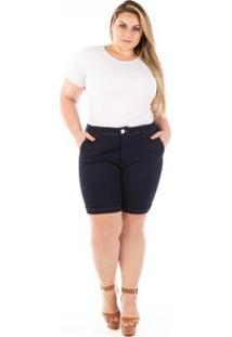 Shorts Jeans Plus Size Lucky Blue Feminino - Feminino-Azul