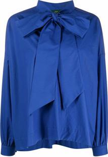 Jejia Blusa De Algodão Com Laço Na Gola - Azul