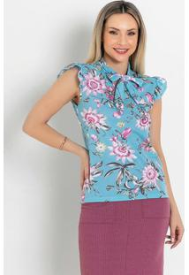 Blusa Com Babado Floral Azul Moda Evangélica