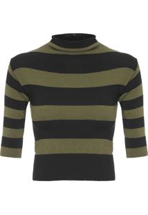 Blusa Feminina Cropped Knit Stripes - Marrom