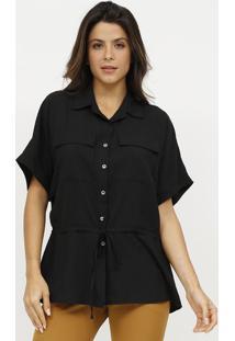 Camisa Lisa Com Canaleta - Preta - Estilo Hestilo H