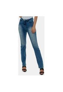 Calça Jeans Feminina Premium Reta Azul Montenegro