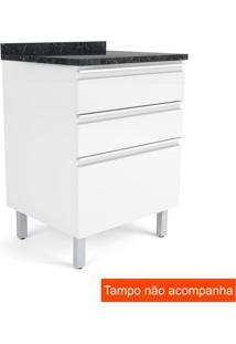 Balcão Para Cozinha Belíssima Plus3 Gv Branco E Branco Cetim 60 Cm