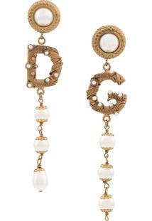 Dolce & Gabbana Par De Brincos Split Com Logo - Dourado