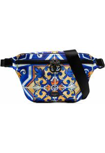 Dolce & Gabbana Pochete Transversal Com Estampa - Azul