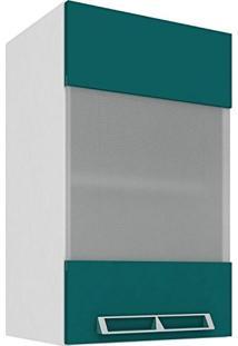 Armário Aéreo Com 1 Porta De Vidro 40Cm Art In Móveis Mia Coccina Branco/Verde