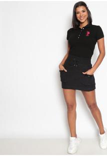 Polo Lisa Em Piqu㪠Com Bordado- Preta & Brancaus Polo