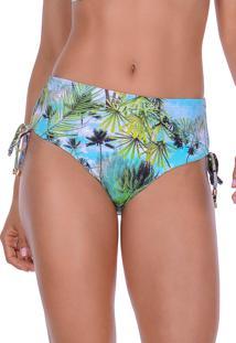 Calcinha Summer Soul Cós Alto Com Amarração Caribe Verde